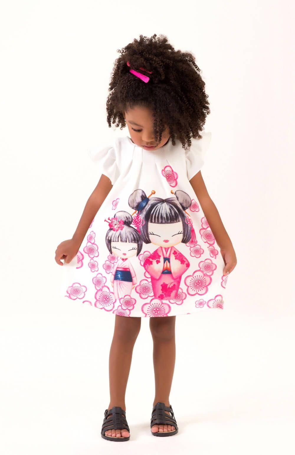 Vestido Gueixa com Flores de Cerejeiras Mon Sucre Infantil