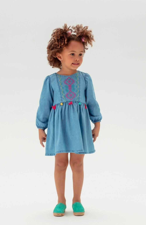 Vestido Lhama Jeans Mon Sucre Infantil