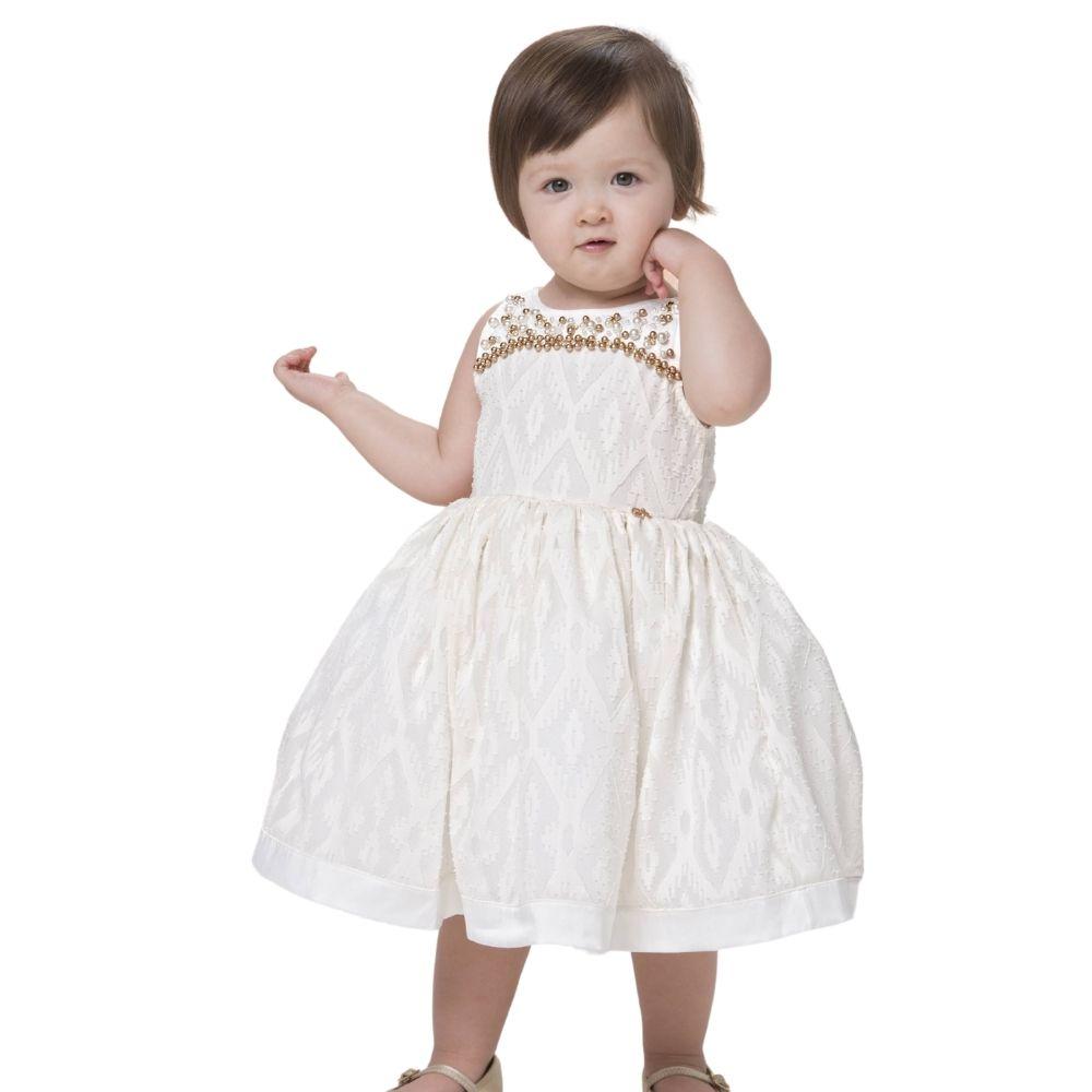 Vestido Marfim com Pérolas  Gabriela Aquarela