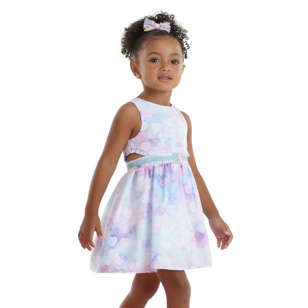 Vestido Moderno Coração Lilás Mon Sucre Infantil