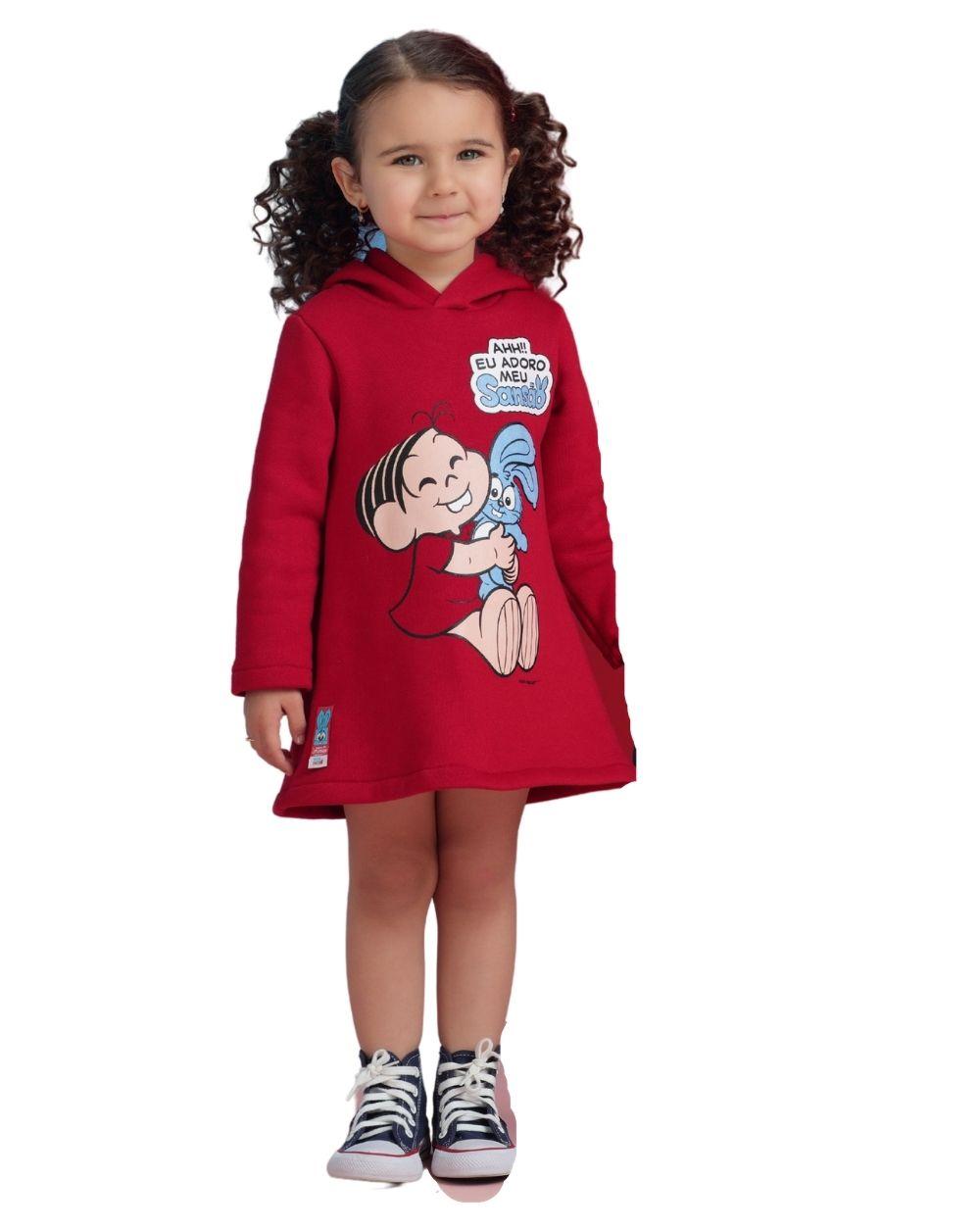 Vestido Mônica Vermelho com Sansão Mon Sucre Infantil