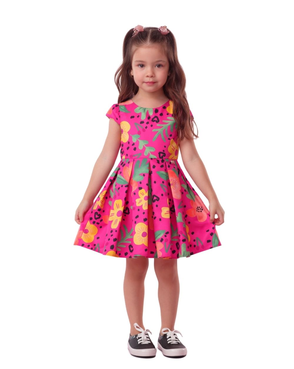 Vestido Pantera Pink Flores Mon Sucre Infantil