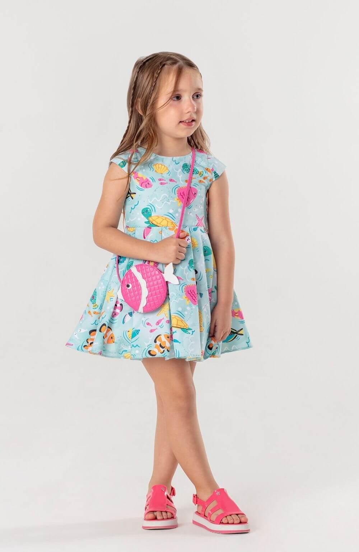 Vestido Peixinhos  do Mar com Bolsa Mon Sucre Infantil