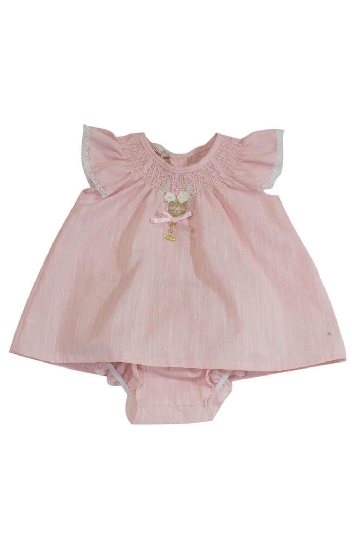 Vestido Rosa com mini Pérolas Roana