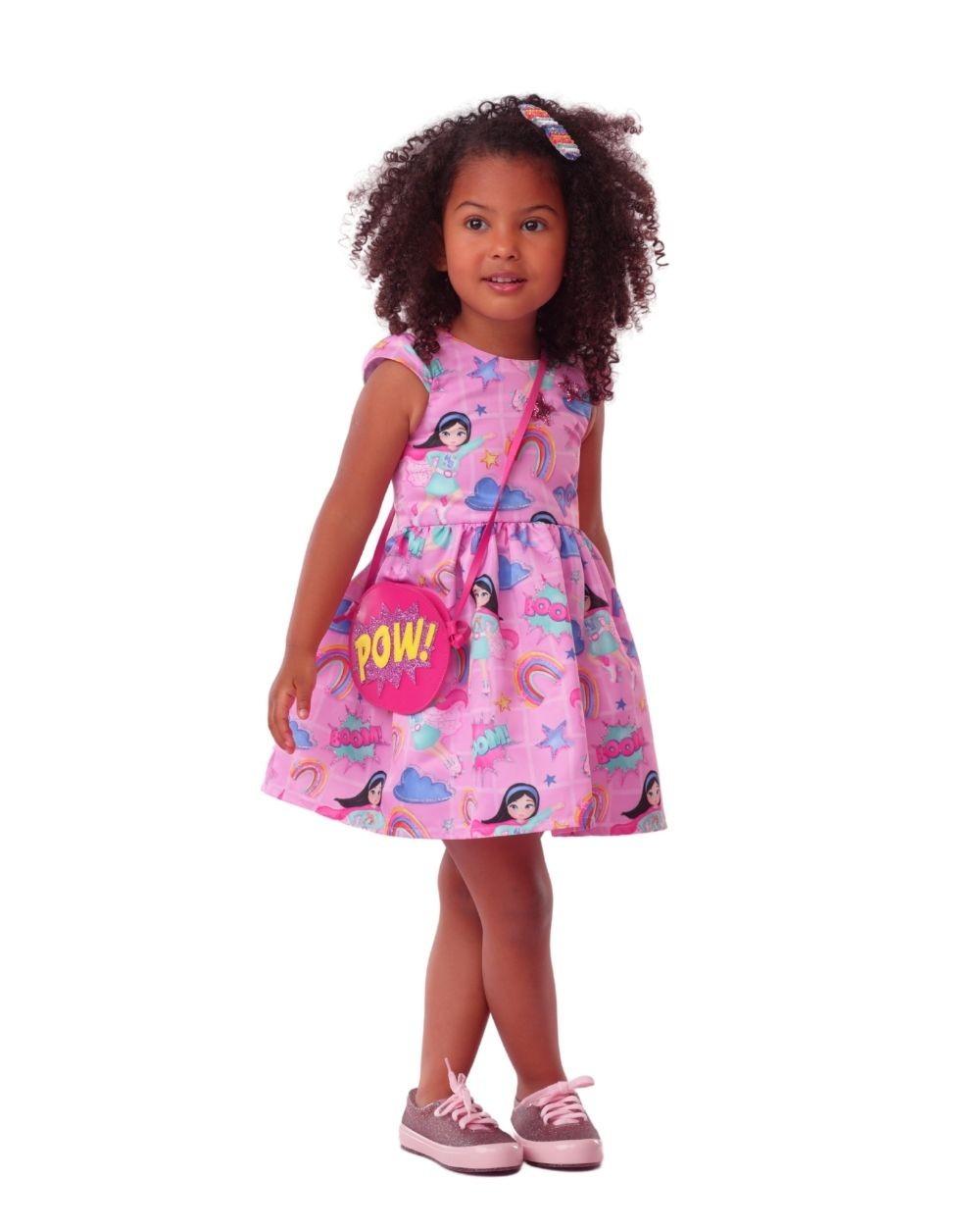 Vestido Super Menina com Bolsa Mon Sucre Infantil