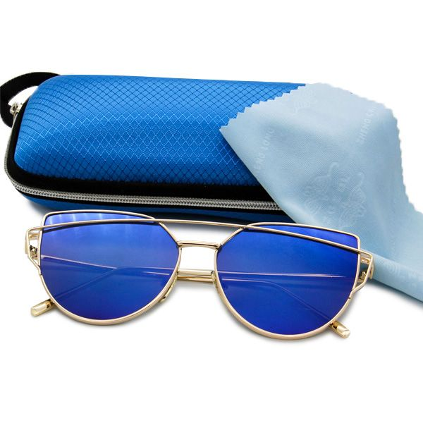 Oculos de Sol Armação Dourada e Lentes Colorias com Proteção UV400 - Loja  Nobre 7d14c31b11