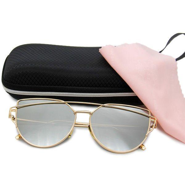 4f9742bf930f4 Oculos de Sol Armação Dourada e Lentes Colorias com Proteção UV400 - Loja  Nobre
