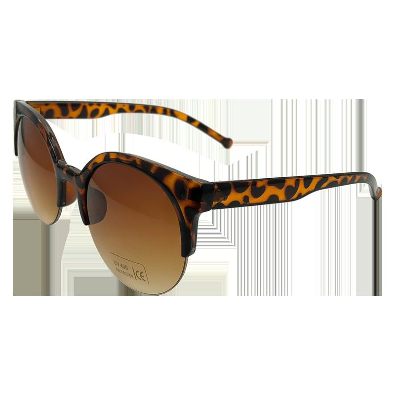 ea01da3920870 Oculos de Sol Design Vintage Semi-Aro com Proteção UV400 - Modelo Leopardo