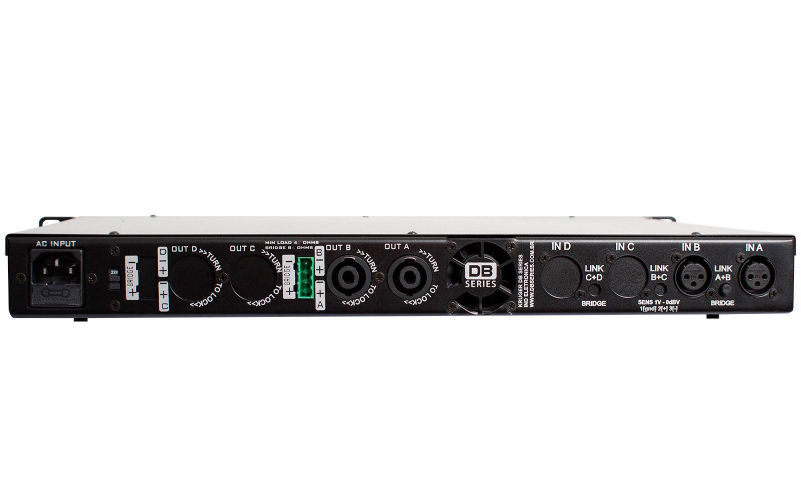 Amplificador DB Series DS 1200 Slim 600w 4 Ohms 2 Canais Bivolt
