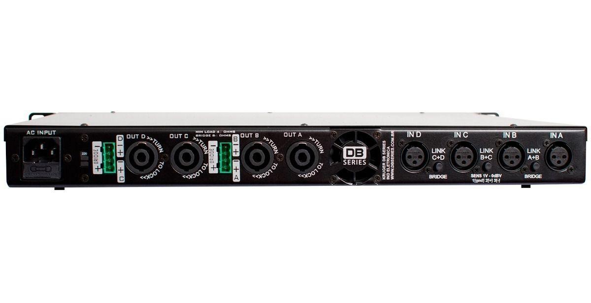 Amplificador DB Series QS 1600 Slim 1600W Rms 4 Canais Bivolt