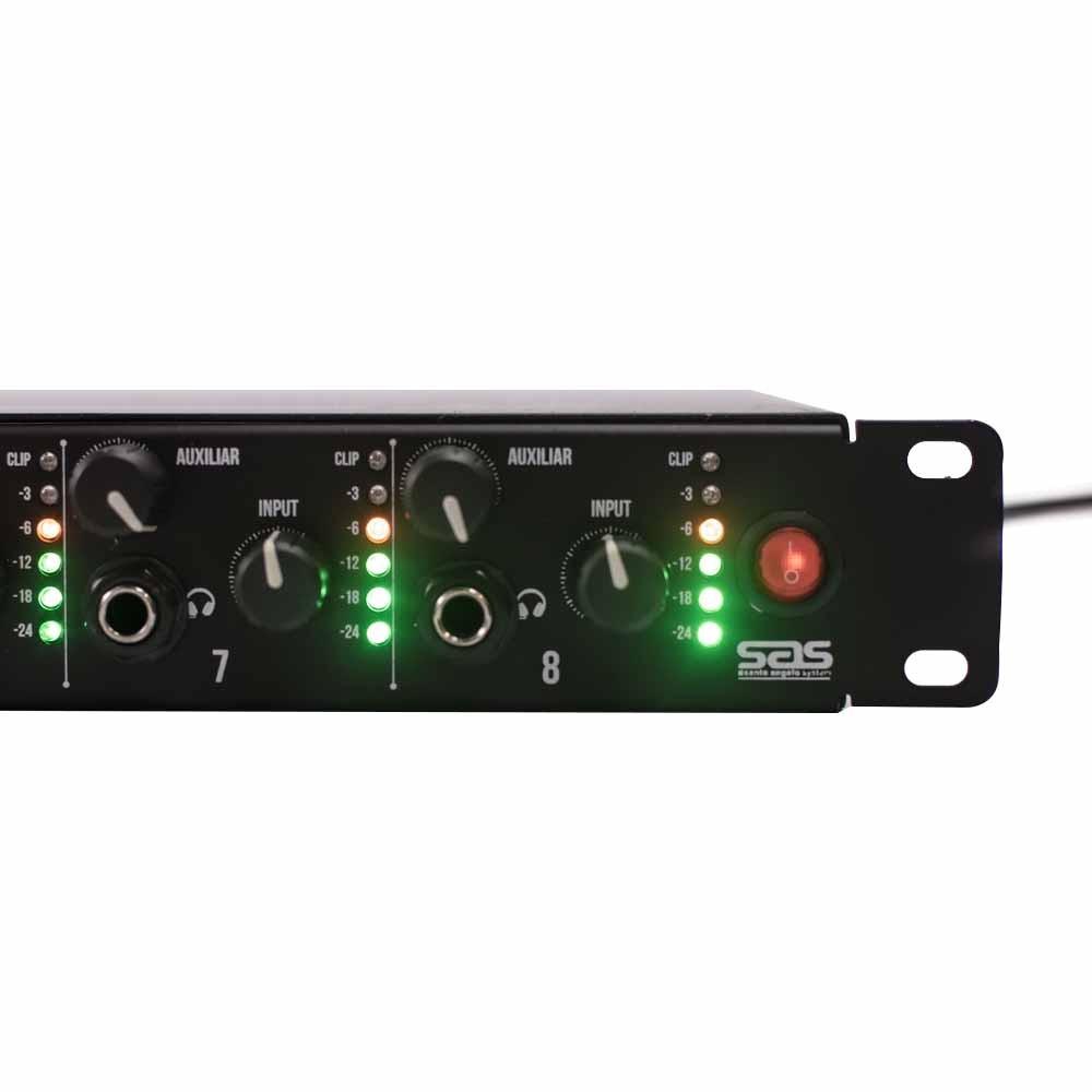 Amplificador Para Fones de Ouvido Mod AF8 Preto Santo Angelo