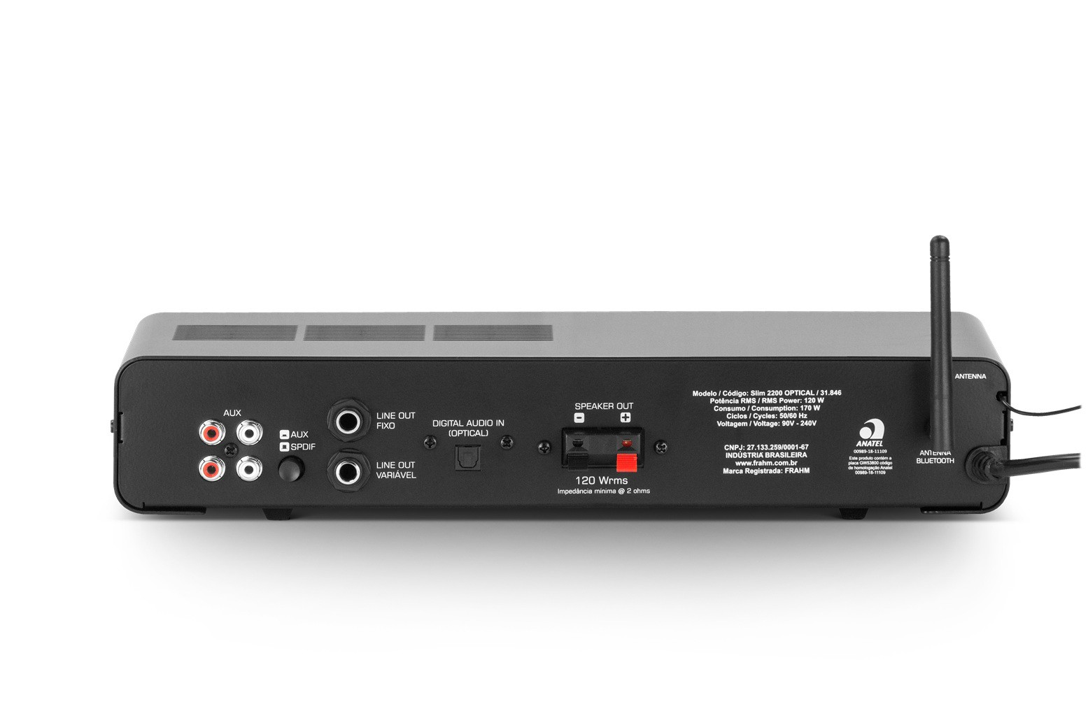 Amplificador Receiver para Som Ambiente Frahm - Slim 2200 Optical
