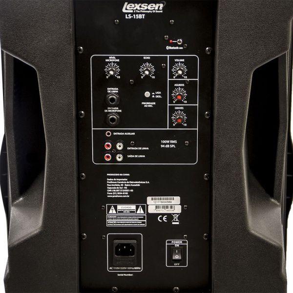 Caixa Acústica Amplificada Lexsen Ls-15Bt Mp3 Usb Controle Remoto Bluetooth - Bivolt