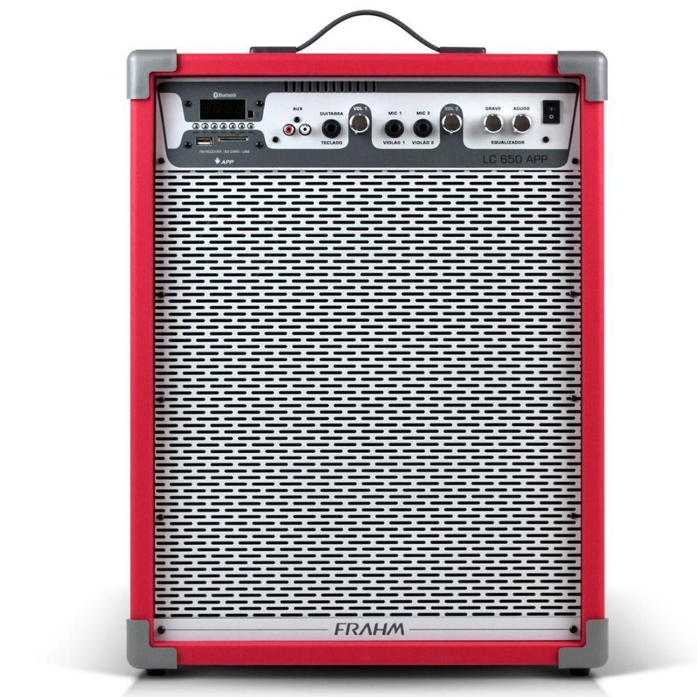 Caixa De Som Amplificada Lc650 App Frahm Vermelha Bluetooth 100w