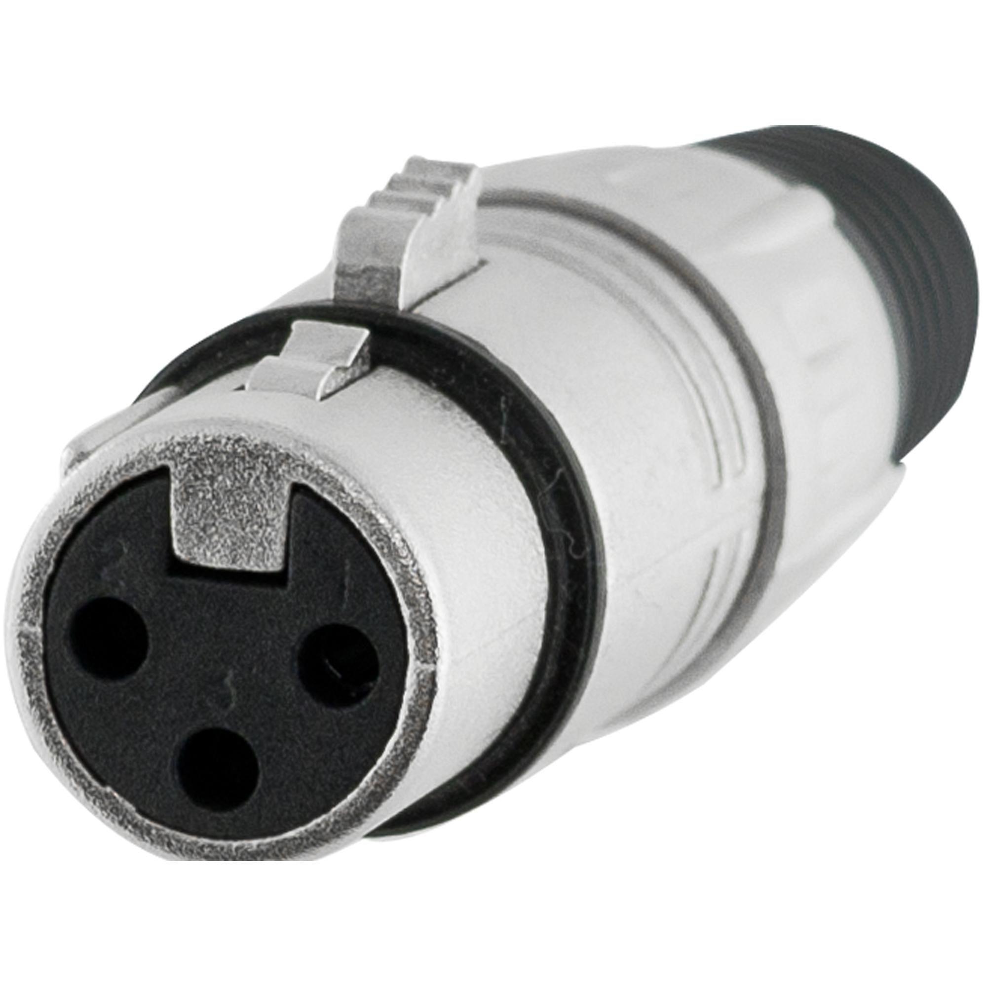 Conector XLR Fêmea 3 Pólos Niquelado HX001F Hyx