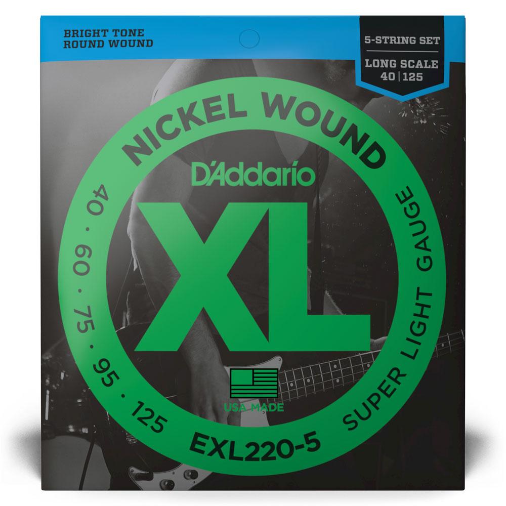 Encordoamento Para Baixo 5 Cordas Escala Longa .040-.125 D'Addario XL Nickel Wound EXL220-5