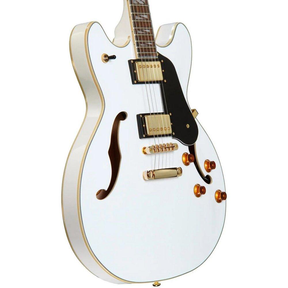 Guitarra Washburn HB35WH Semi-acústica Branca Com Case