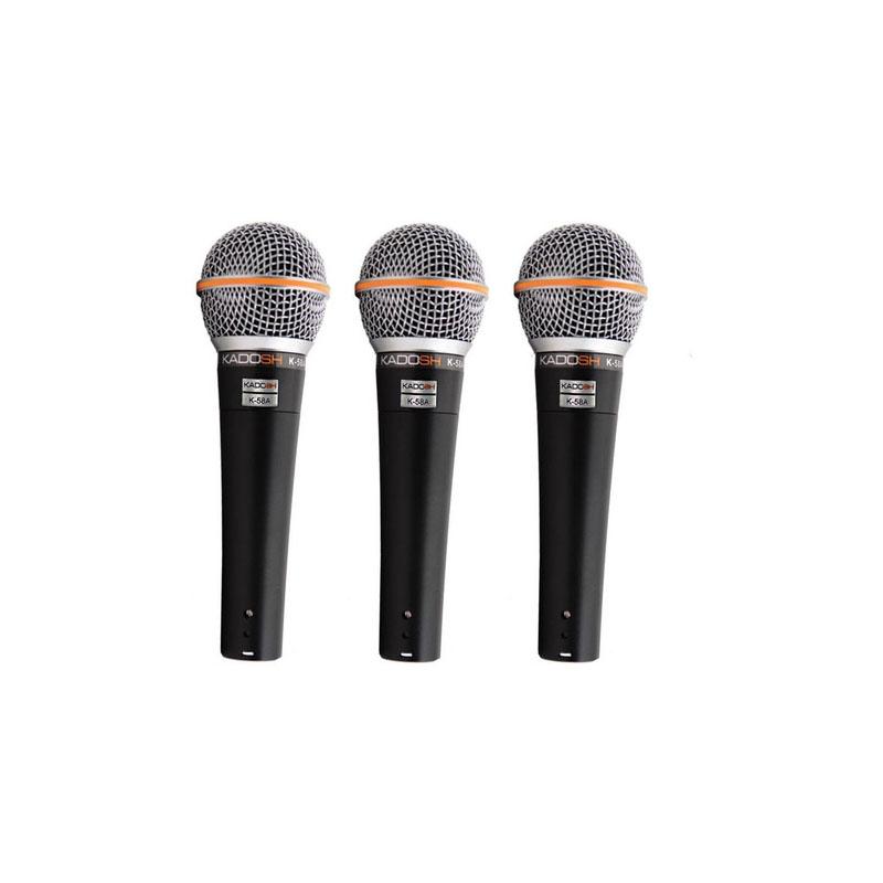Kit Com 3 Microfones Kadosh K58A Com Fio