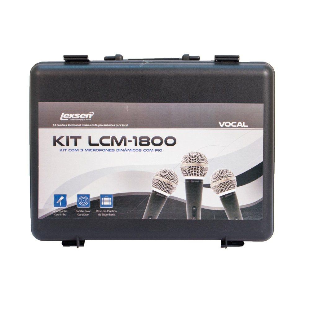 Kit Lcm-1800 com 3 Microfones Lexsen Mxt - Combo Maleta + Cachimbos