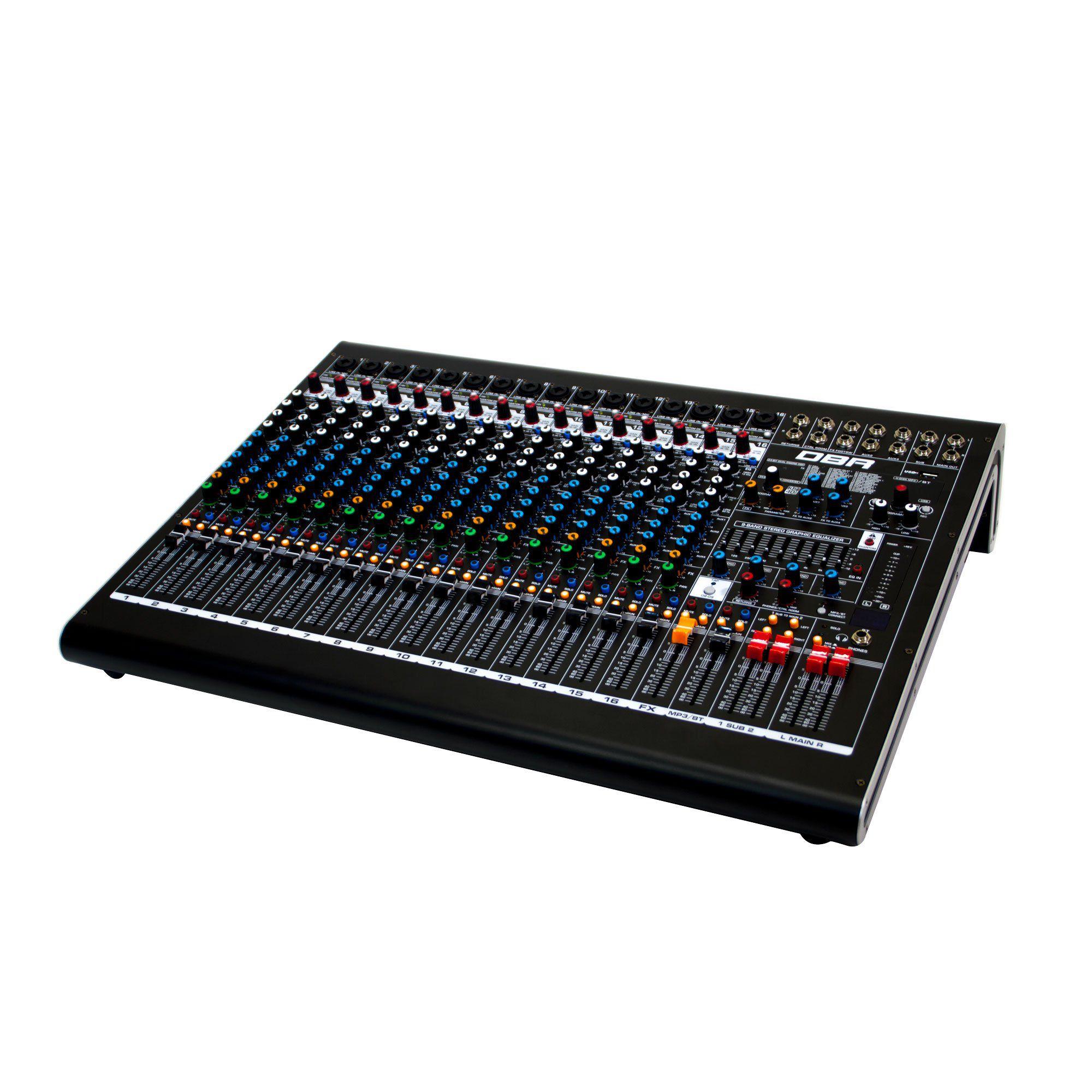 Mesa de Som 16 canais DM16 USB DBR - Efeitos e Interface