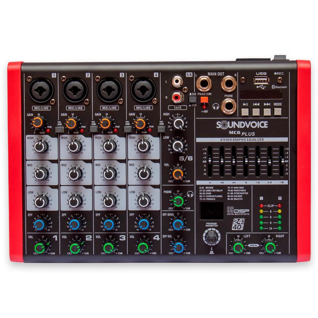 Mesa de Som 6 Canais SoundVoice MC6Plus Eux Bivolt