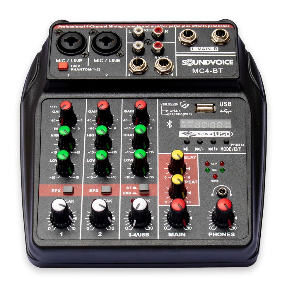 Mesa de Som Analógica Compacta 4 Canais SoundVoice MC4-BT Usb