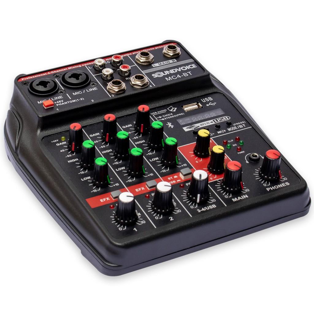 Mesa de Som Compacta 4 Canais SoundVoice MC4-BT Usb