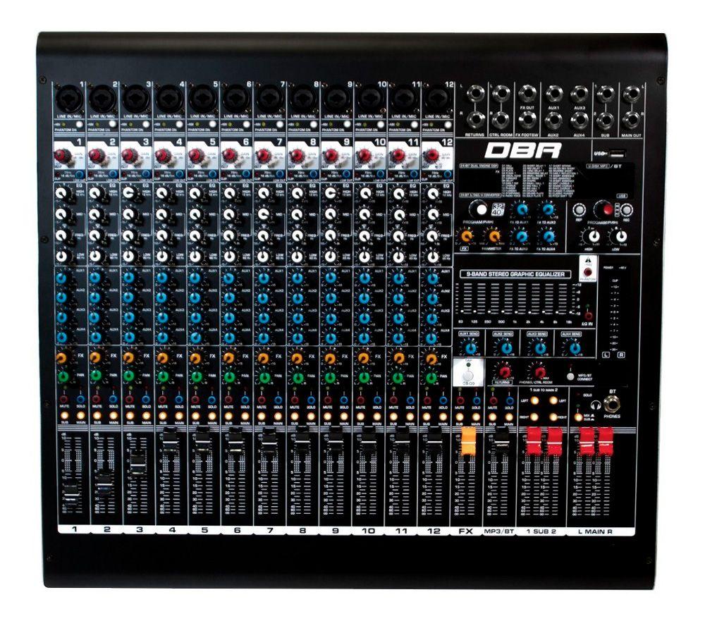 Mesa De Som DM12 USB - 12 canais Com Efeitos e Interface de Gravação DBR