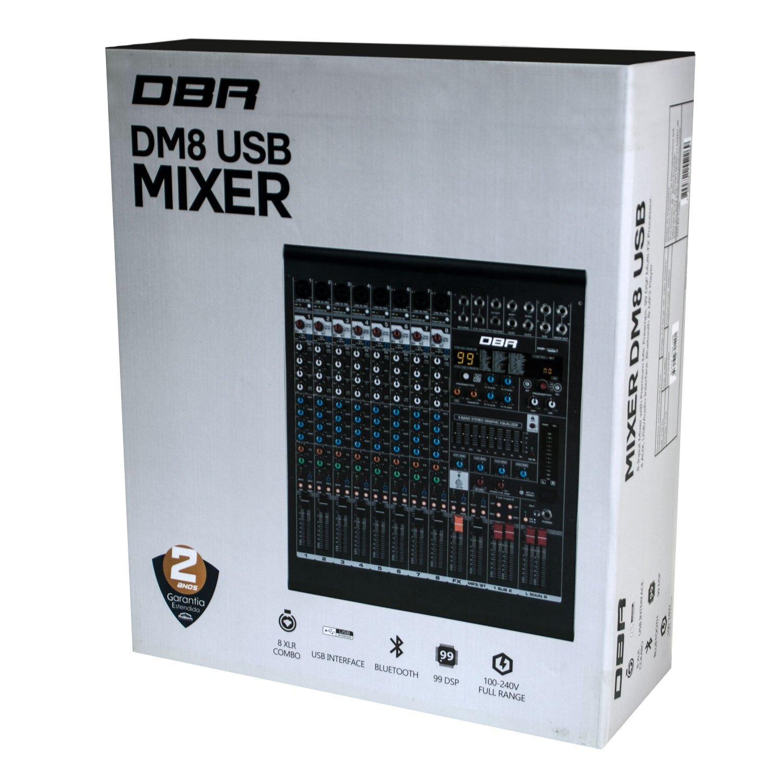 Mesa de Som DM8 USB DBR 8 canais - Efeitos e Interface