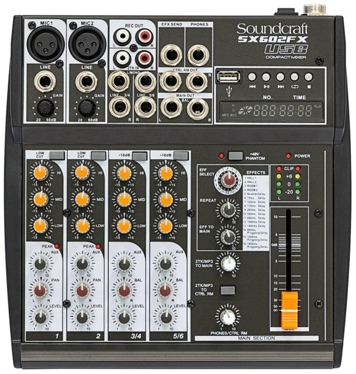 Mesa De Som Soundcraft Sx 602 Fx 6 Canais - Usb Analógica