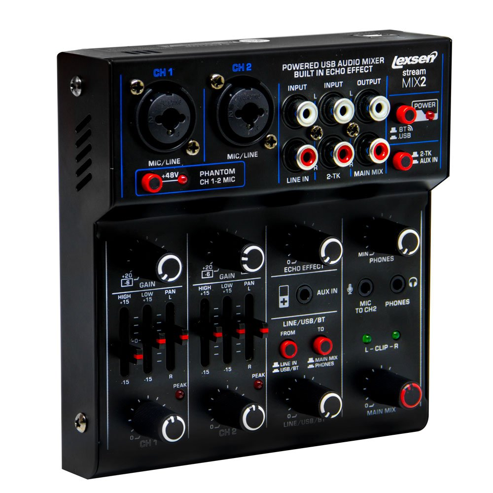 Mesa de Som Stream Mix 2 USB Lexsen - Interface de Áudio e Bluetooth