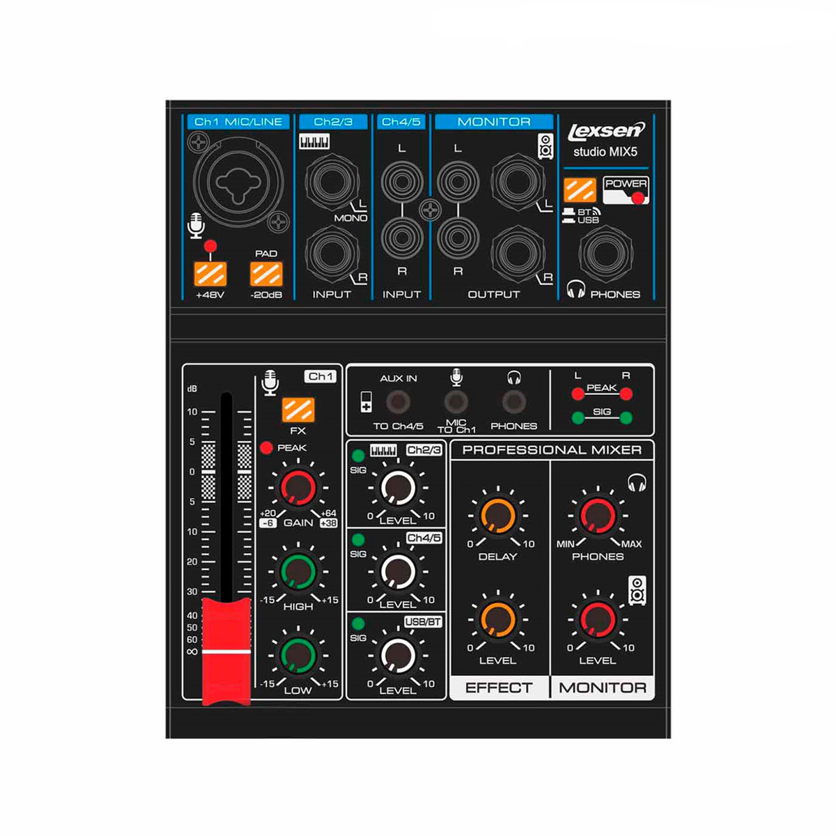 Mesa de Som Studio Mix 5 Com Interf. USB e Bluetooth Lexsen