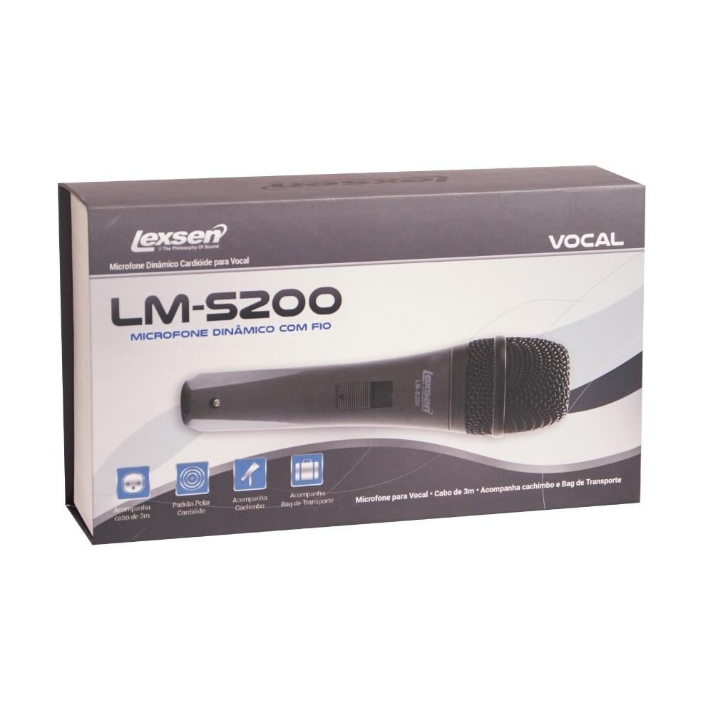 Microfone Com Fio, Vocais Cardioide, Cabo 3m LM-S200 Lexsen