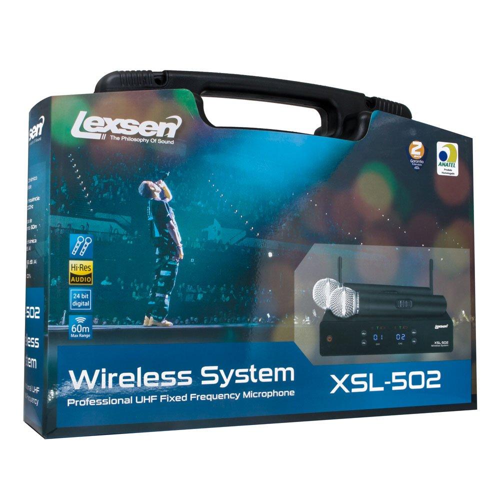 Microfone Sem Fio Duplo Lexsen XSL 502 UHF - 2 Canais