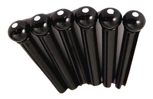 Pino Plástico Smart Corda Violão Aço Preto 6 Pcs