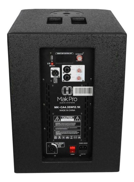 Sistema Vertical Array Makpro MK-Ca 4.3sw12.1k Preto 500w Rms