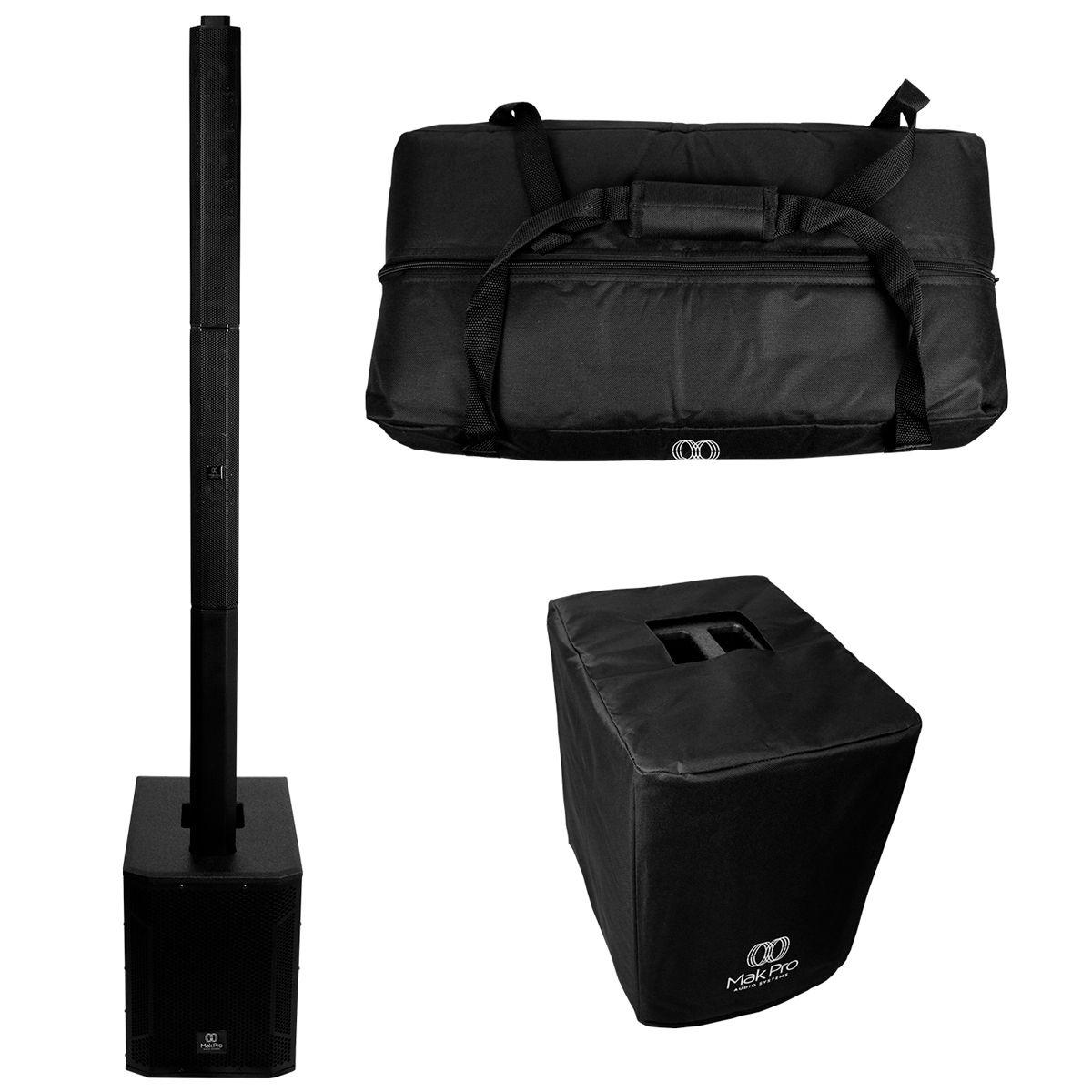Sistema Vertical Array MakPro CA 48SW12 500w Rms com Bag
