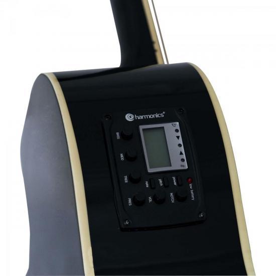 Violão Eletroacústico Aço GE-21 Preto Harmonics