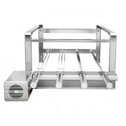 Kit Giragrill churrasqueira Inox 430 com 4 espetos giratórios