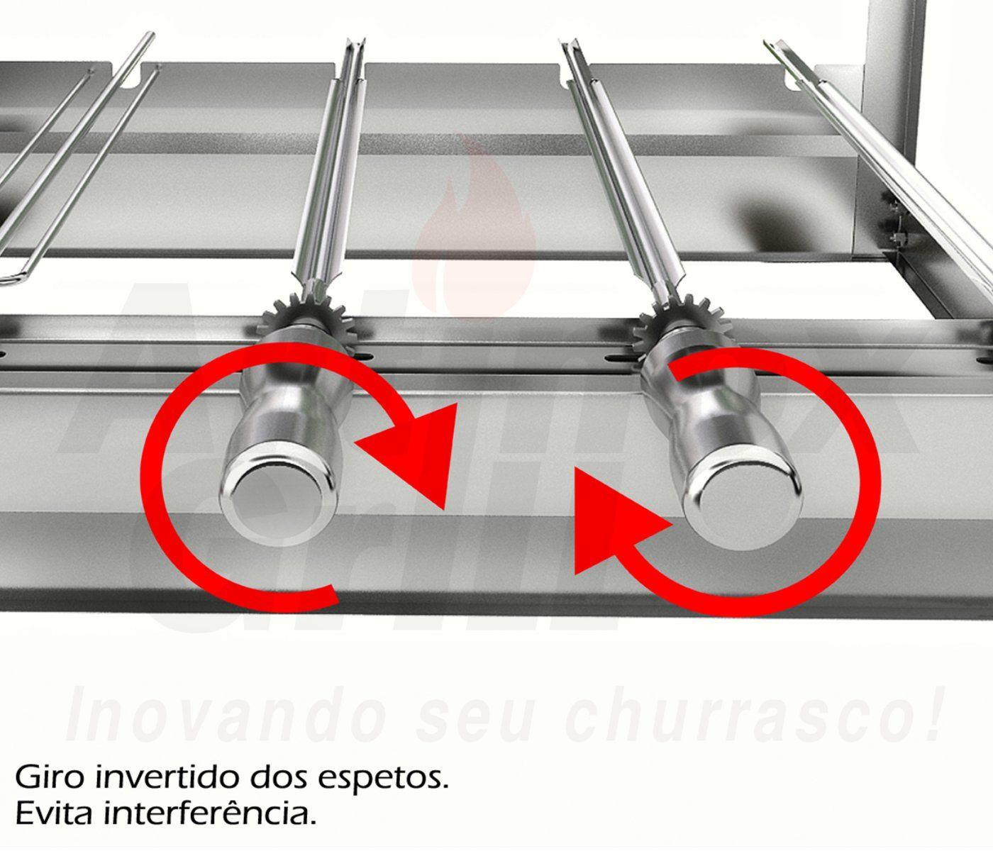Churrasqueira Dupla Inox Gira Grill 11 Espetos - 2 Andares