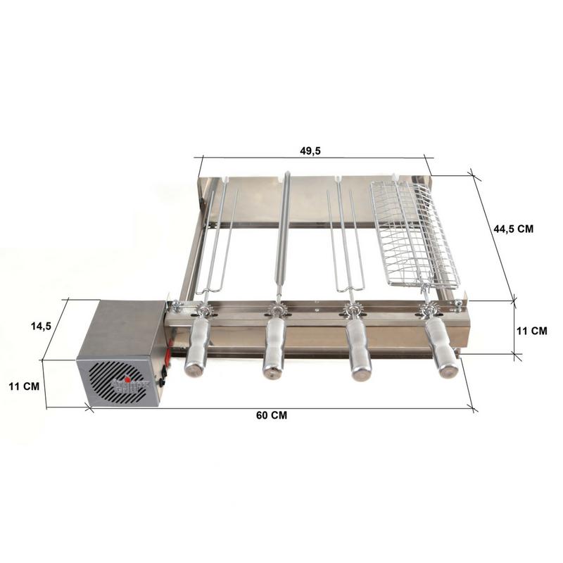 Churrasqueira Elétrica Kit Baixo 4 Espetos Artinox