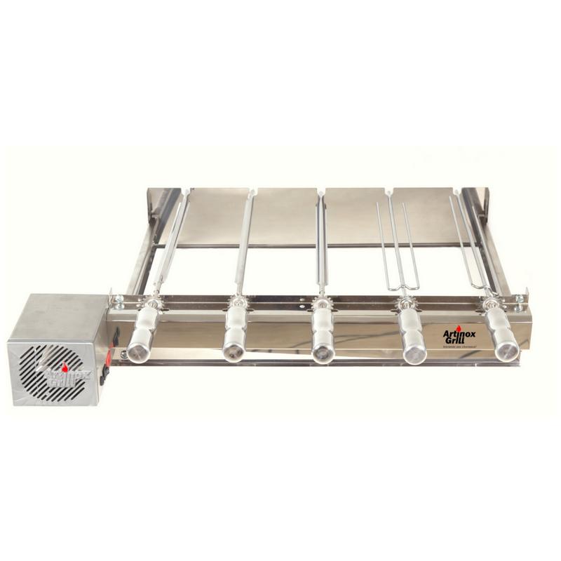 Churrasqueira Gira Grill Inox Elétrica Kit Baixo 5 Espetos Motor Bivolt