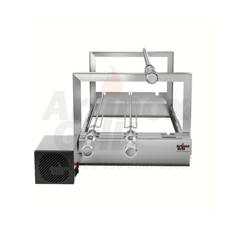 Churrasqueira Elétrica Regulável Inox 3 Espetos Motor Bivolt