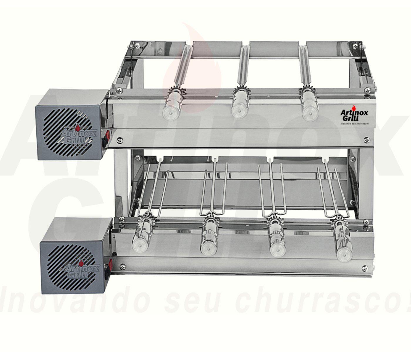 Churrasqueira Inox Gira Grill 7 Espetos Giratórios com 2 Andares e 2 Motores Bivolt