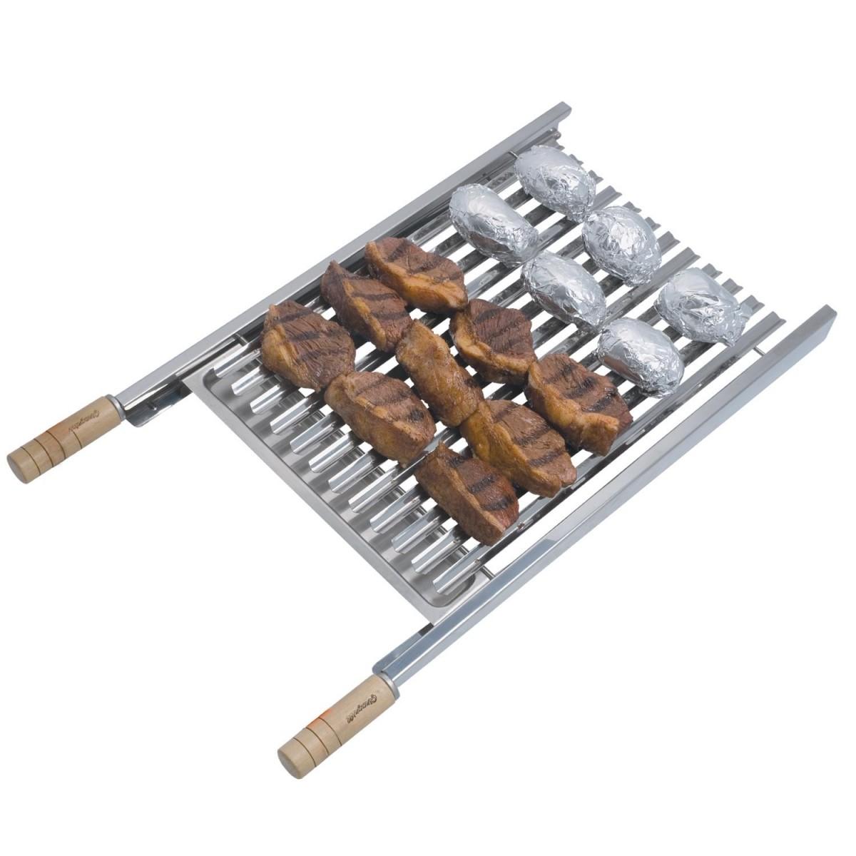 Grelha para churrasqueira - Grelha Argentina Artinoxgrill 40cm com cabo de madeira.