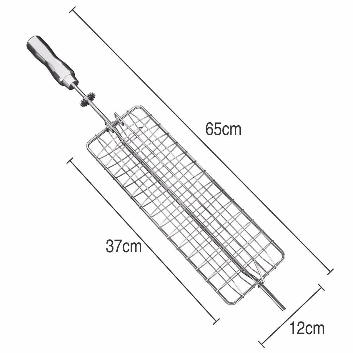 Grelha para Churrasqueira Côncava Cromada 65cm Cabo De Aluminio
