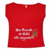 Bata ou Camiseta Gestante Meu Presente de Natal