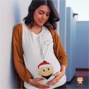 Bata ou Camiseta Gestante Natal Bebê Presente