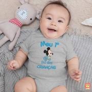 Body de Bebê ou Camiseta Infantil Meu Primeiro Dia das Crianças Mickey