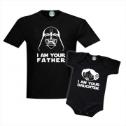 Camiseta e Body de Bebê Star Wars Tal Pai Darth Vader e Tal Filha Princesa Leia
